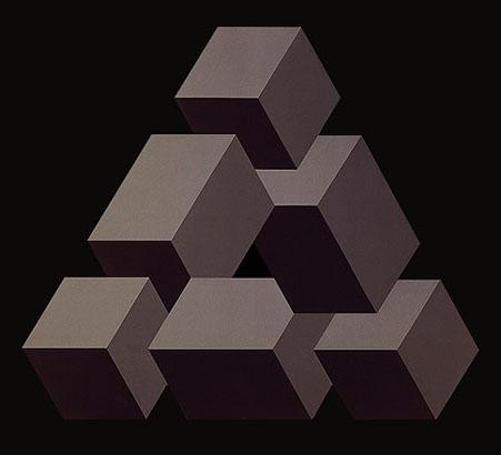 Figuras imposible.1970. Pintura sintética y plástica sobre madera. 127 X 119 cm.
