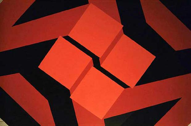 Figura imposible, detalle, 1972. Pintura sintética sobre madera, 200 x 200 cm