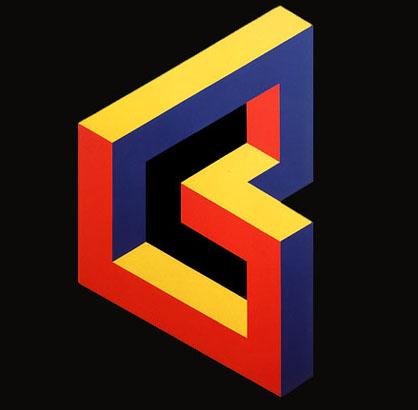 Figuras Imposible.1971. Pintura sintética y plástica sobre madera. 117 X 70 cm.